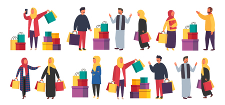 Shopping muslim people with bags. Vector sale illustration 向量圖像