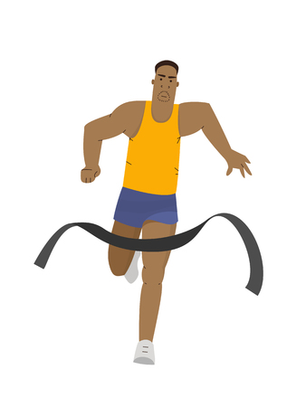 Runner man win a race marathon crossing finish line. Running sport vector illustration