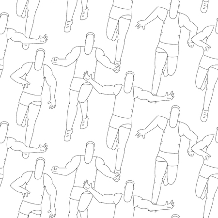 Seamless sport pattern, outline running people. Vector line background.