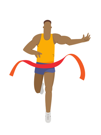 Running athlete leader winning a race. Run man, sport activities vector illustration 向量圖像