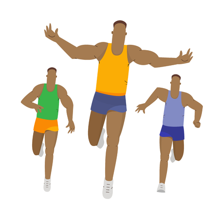 Marathon or sprint race. Sport running competition. Runner first crossing the finish line. Sport vector illustration.