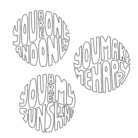 Valentine love phrases set in round shape. Hand drawn vector lettering illustration. 向量圖像