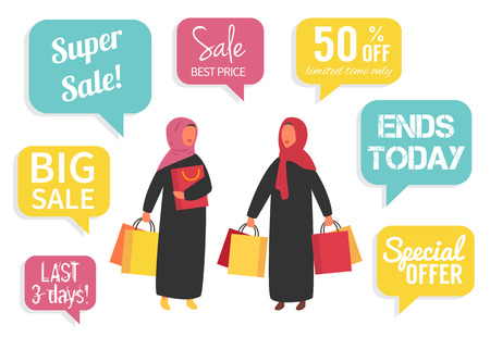 Muslim women at sale making shopping with discount. Vector illustration
