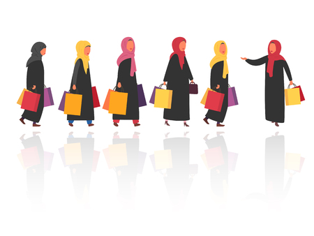 Shopping muslim women with bags. Vector illustration 向量圖像