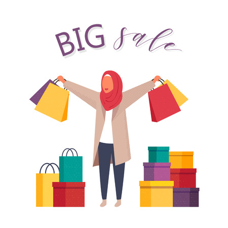 Shopping muslim woman with shopping bags hurrying on sale. Fashion Arab hijab vector character people illustration.