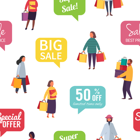 Shopping people, man and woman with bags. Seamless vector sale illustration