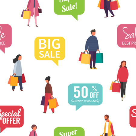 Shopping people with bags. Seamless Vector illustration