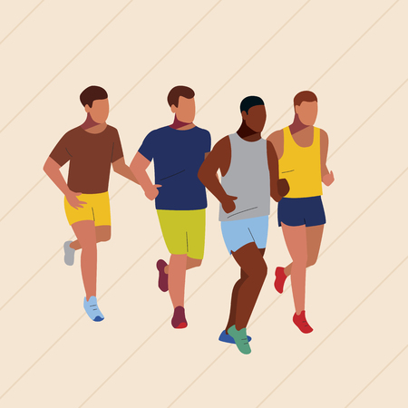 Marathon race. Sport running competition. Group of runners in line. Athletes vector illustration. 向量圖像