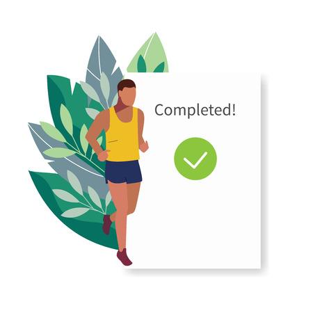 Fitness tracker, sports app user interface. Running man vector illustration.
