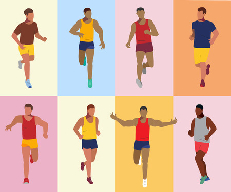 Runner athlete set. Sport running competition. Group of sportsmen. Marathon vector illustration. 向量圖像