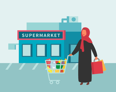 Woman in supermarket food shop with shopping cart. Healthy eating concept. Flat design vector. 向量圖像
