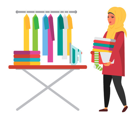 muslim woman making household work. vector illustration