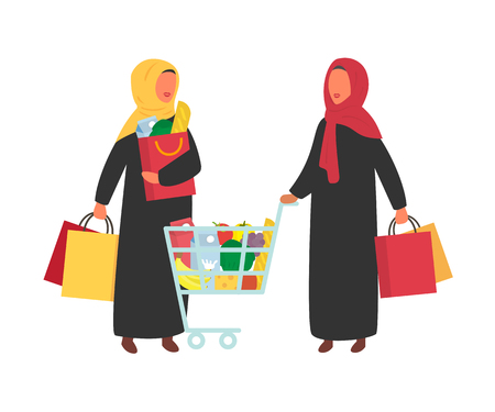Woman in supermarket food shop with shopping cart. Flat design vector.