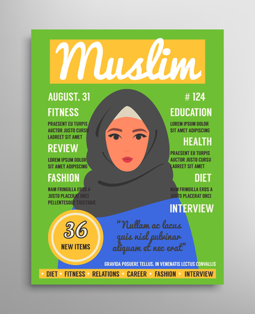 Magazine cover template about beauty, fashion and health for arab muslim women. Vector illustration