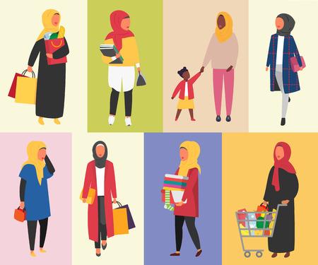 Mujeres musulmanas en la rutina de la vida diaria. Estilo de vida de la mujer hijab. Ilustración de vector.