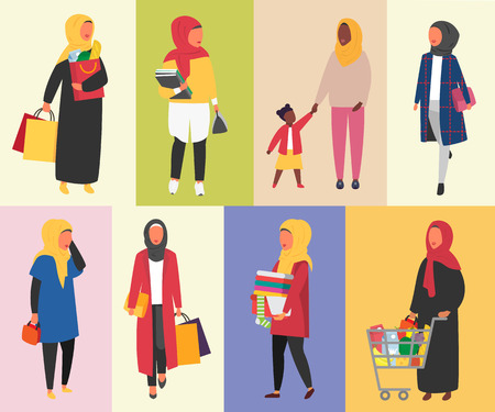 Muslim women in daily life routine. Hijab woman lifestyle. Vector illustration. Illustration