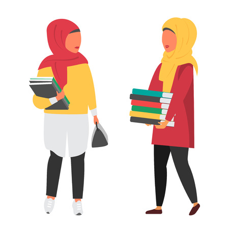 Hijab Muslim student with books. Education vector illustration