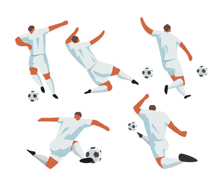 Soccer Players in action. Foolball play people characters. Vector illustration set