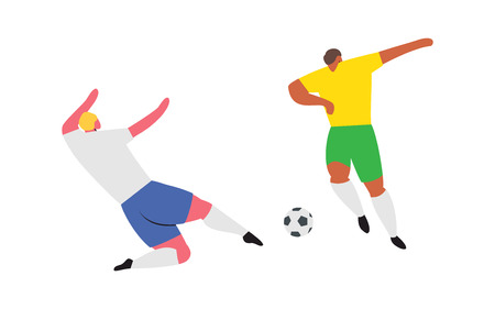 Soccer Players competition. Football play people characters. Vector illustration set 向量圖像