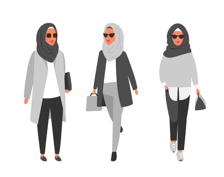 Hijab muslim woman. Arab modern fashion. Vector people 向量圖像
