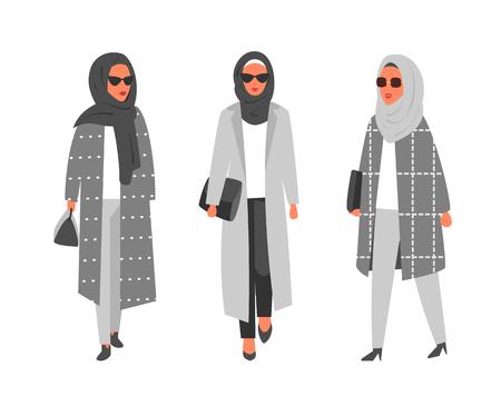 Hijab muslim woman. Arab modern fashion. Vector people Illustration