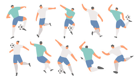 Collection of soccer players team. Football game in action, Vector sport illustration 向量圖像