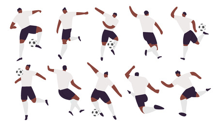 Collection of afro-american soccer players team. Football game in action, Vector sport illustration