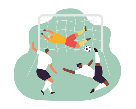 Soccer play. Goalkeeper trying to catch the ball. Vector football game players. 向量圖像
