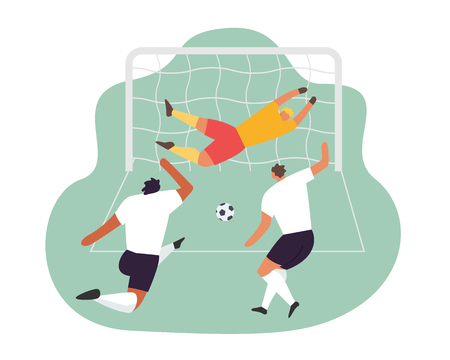 Soccer play. Goalkeeper trying to catch the ball. Vector football game players. Ilustração