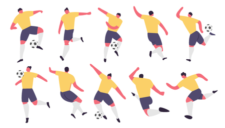 Soccer Players in action. Football play game people characters. Vector illustration set