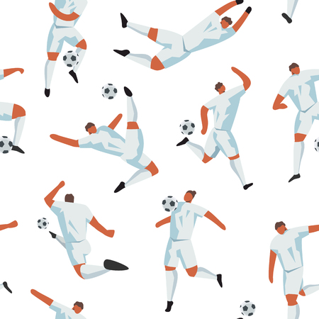 Seamless pattern with soccer players. Football game endless vector print