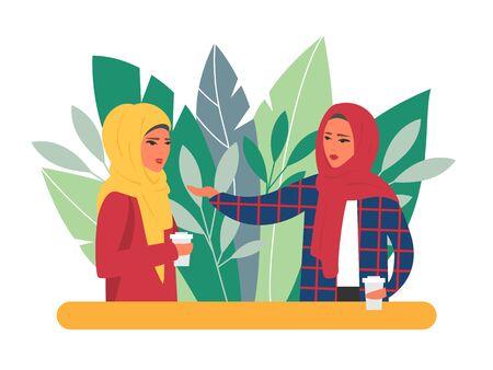 Muslim women coffee time. Illustration