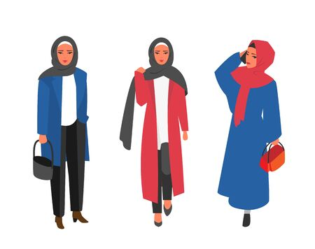 Hijab Muslim woman. Arab modern fashion. Çizim