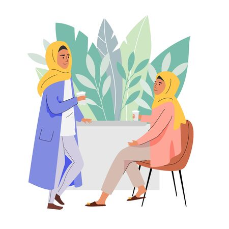 Muslim women coffee time. Daily life illustration Çizim