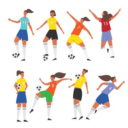 Woman soccer players. Female Football illustration.