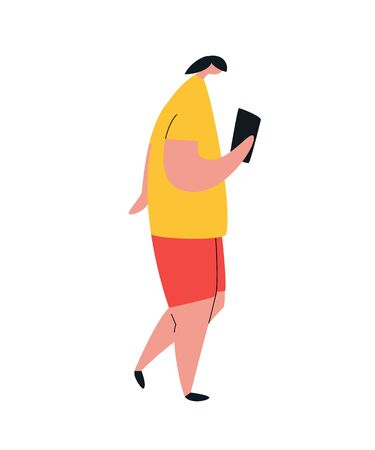 Woman scrolling smartphone. people character with mobile phones.