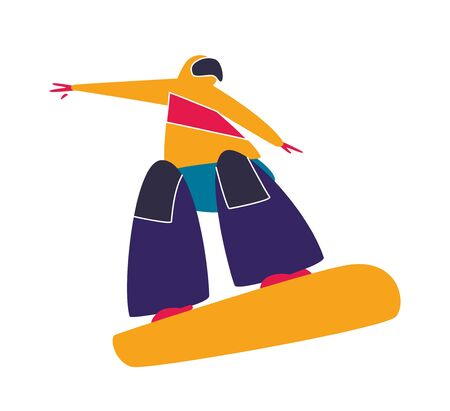 WInter mountain sport activities. Snowboarding. Snowboard rider. Flat style characters vector illustration.