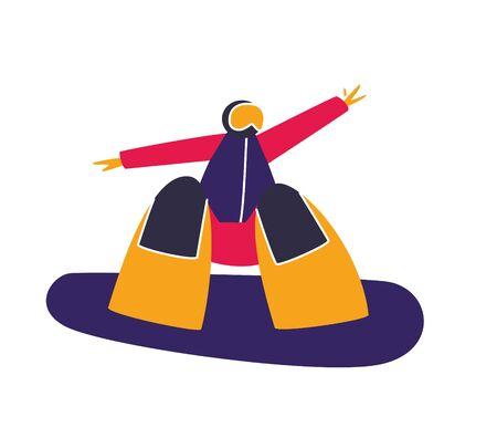 Winter mountain sport activities. Snowboarding. Snowboard rider. Flat style characters vector illustration. Vektorové ilustrace