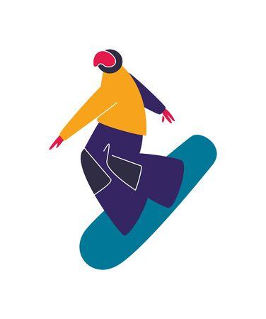 Winter mountain sport activities. Snowboarding. Snowboard rider. Flat style characters vector illustration.