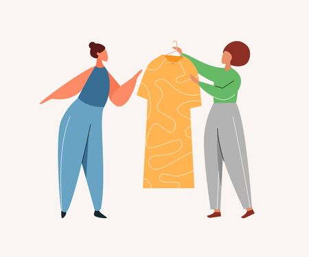 Woman buying in clothes store. Customer and consultant characters shopping at apparel retail shop. Garment sale. Flat vector illustration. Çizim