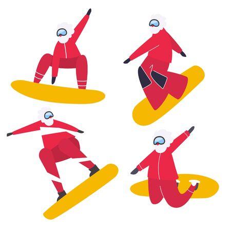 Sportowy Mikołaj. Snowboard Santa Claus na białym tle. Boże Narodzenie i nowy rok pozdrowienie płaskie ilustracja - Vector