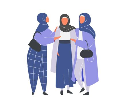Muslim Woman in hijab supporting by friends. Flat design vector.