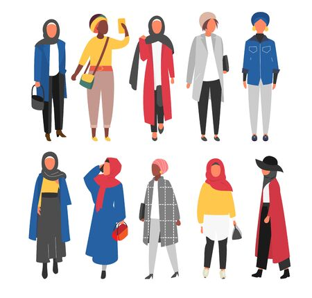 Hijab Muslim Woman set. Covered arab islamic fashion. Vector people. Çizim