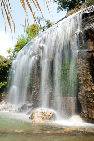 Waterfall in Nice. France. Waterfall was made by. It