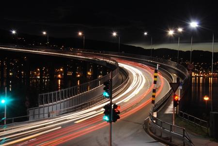 Traffic light at night in Tromso
