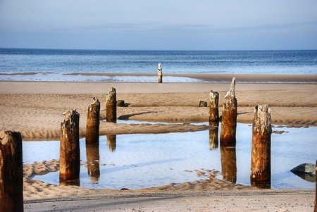 Coast of the Baltic Sea near the Miedzyzdroje City. Wooden pale on the picture. Imagens