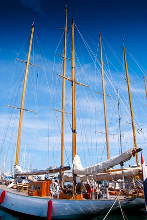 Sail yachts in port in Cannes, France. French Riviera.
