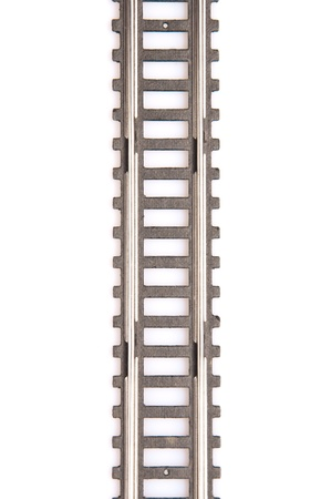 Toy railway track isolated on white background. Horizontal view. Stock Photo