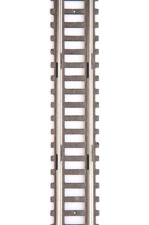 Toy railway track isolated on white background. Horizontal view. Stock Photo