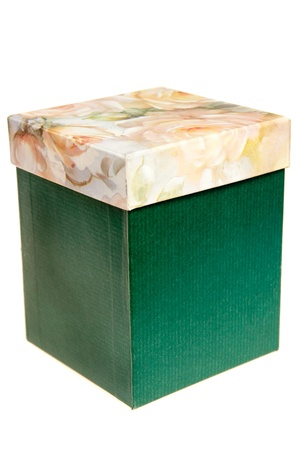 Green box isolated on white background. Box has light roses cover.